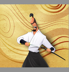 Cartoon llustration of japanese samurai vector