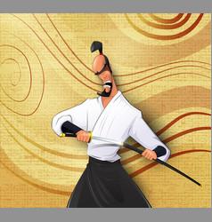 cartoon llustration of japanese samurai vector image vector image