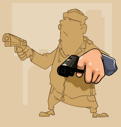 Cartoon male perp with two pistol in his hands vector