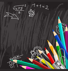 Chalkboard school background with colorful pencils vector