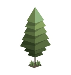 Colorful green pine tree with pixel design vector