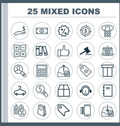 Commerce icons set collection of gavel peg vector