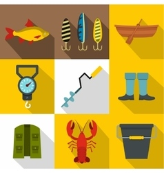 Fishing sport icons set flat style vector