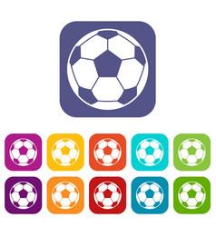 Football soccer ball icons set flat vector