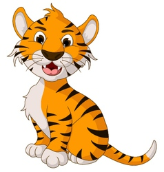 funny tiger cartoon posing vector image