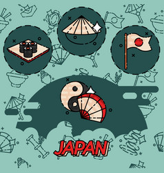 Japan flat concept icons vector