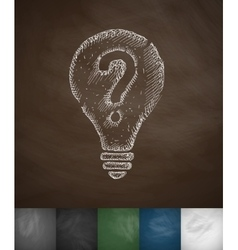 Light bulb with a question mark icon vector