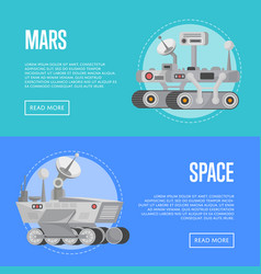 Mars exploration flyers with research rovers vector