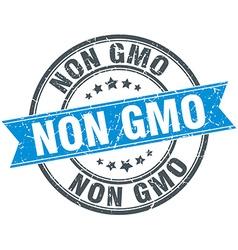 Non gmo blue round grunge vintage ribbon stamp vector