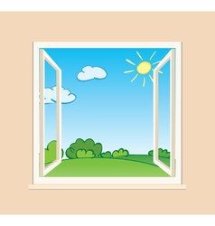 open window with green nature outside vector image