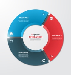 pie chart infographic template 3 options vector image