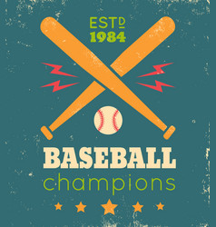 retro poster for baseball vector image vector image