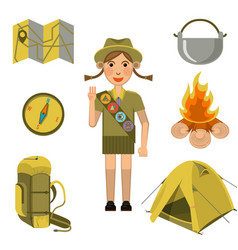 scout girl showing honor hand sign and equipments vector image