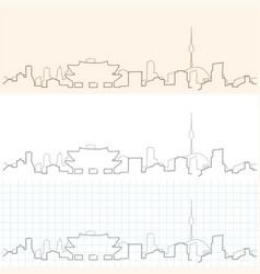Seoul hand drawn skyline vector