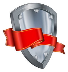 shield with ribbon vector image vector image