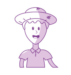 Silhouette nice man with hat and t-shirt vector
