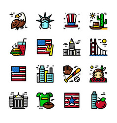 thin line usa icons vector image vector image