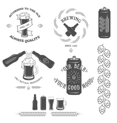 Vintage beer emblem and design elements vector image