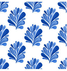 watercolor blue floral seamless pattern with vector image vector image