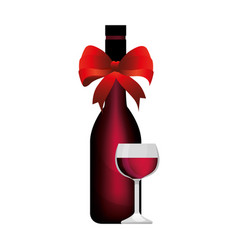 wine cup and bottle isolated icon vector image vector image