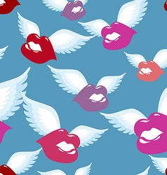 Winged Kiss seamless pattern Kiss with wings vector image vector image