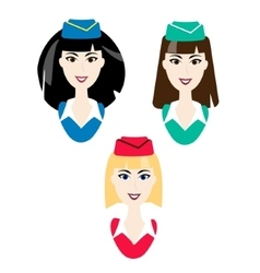 Stewardess icons simple air hostess avatar vector