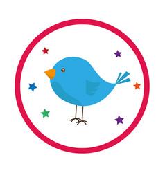 colorful circular frame with bird vector image