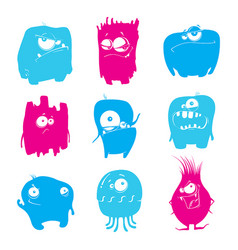 set of cartoon funny monsters vector image