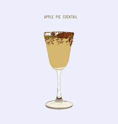 Apple pie cocktail hand drawn sketch line art vector