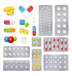 Medicine pills capsules realistic images set vector