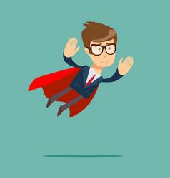 Super businessman in a cloak of superman vector