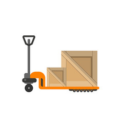 delivery boxes on hand truck in flat design vector image
