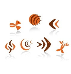 Underwater animals symbols vector