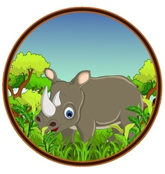 Rhino with forest background vector
