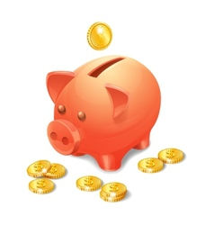 Piggy bank realistic vector