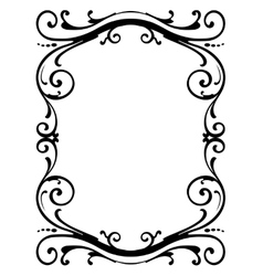 Calligraphy penmanship curly baroque frame black vector