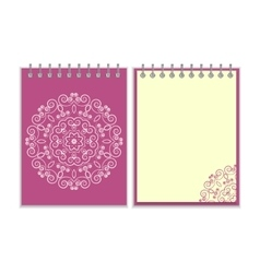 Purple cover notebook with round floral pattern vector