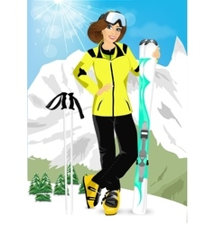 Pretty woman standing with mountain skis vector