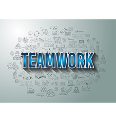 Teamwork business success with doodle design style vector