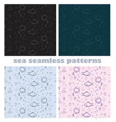 Sea world seamless patterns vector