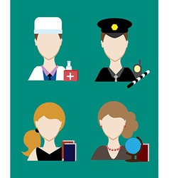 Profession people cop doctor Face men uniform vector image