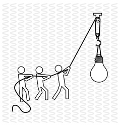 Teamwork with bulb design vector image