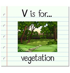 Flashcard letter v is for vegetation vector