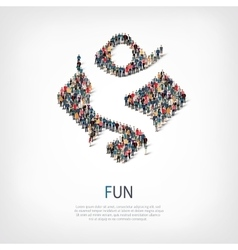 fun people sign 3d vector image