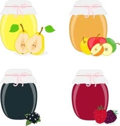 Jam jars pear apple currants raspberries vector