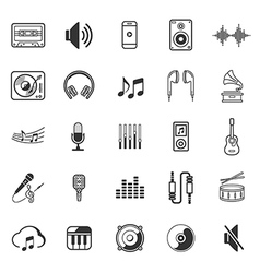 Music icons set thin lines style of symbol vector