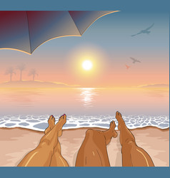 A couple restsing on sea tropical beach vector