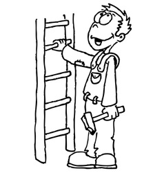 Black and white man holding a ladder vector
