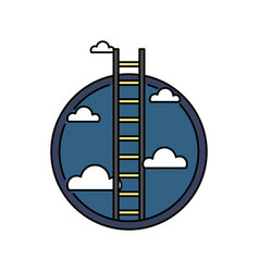 business success ladder to the sky retro colored vector image