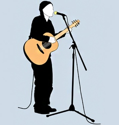 busker silhouette vector image